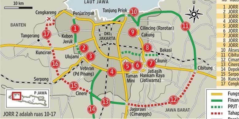 Rencana jalur tol Cinere-Serpong (Point 15) akan menghubungkan wilayah Pamulang dengan tol JORR 2 hingga ke Bandara Soekarno-Hatta dan tol JORR S yang melintasi Simatupang, Pasar Minggu, Taman Mini, hingga ke Cilincing.