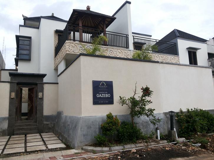 Tampak fasad Tipe Gazebo. Sesuai namanya, terdapat gazebo, yang ditempatkan di balkon lantai dua.