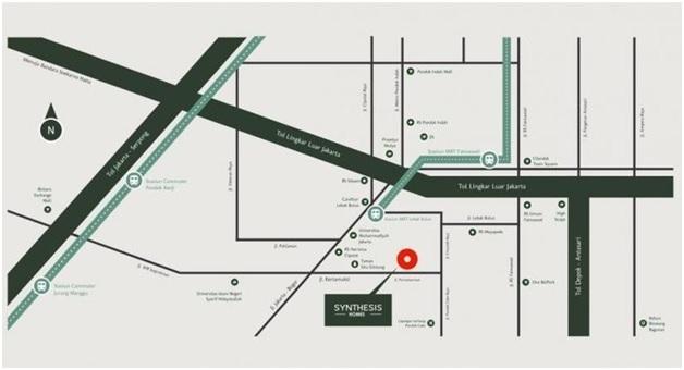 Peta lokasi Synthesis Home dari sejumlah akses jalan yang bisa ditempuh