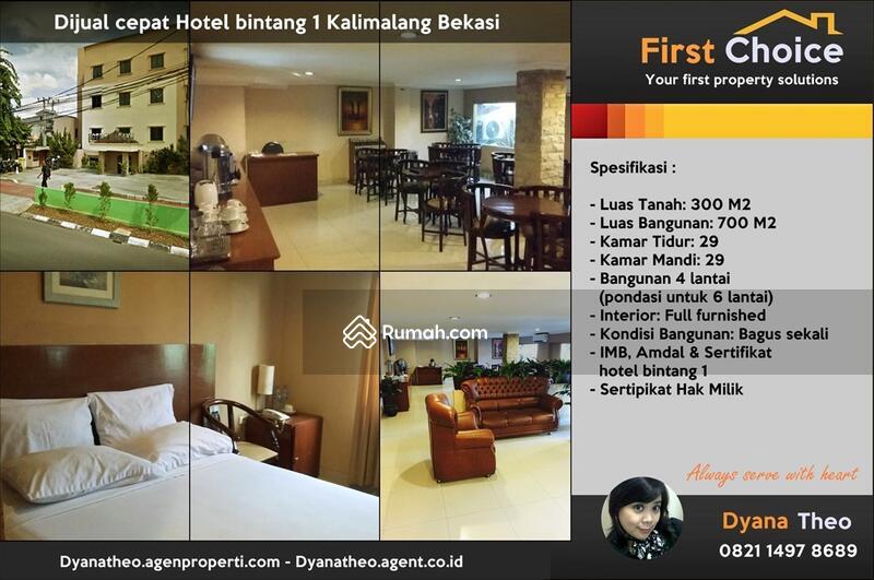 Hotel Bintang 1 Lokasi Strategis Kalimalang Bekasi Jl Kayuringin Jaya Jawa Barat 10 Kamar Tidur 700 M2 Villa Dijual