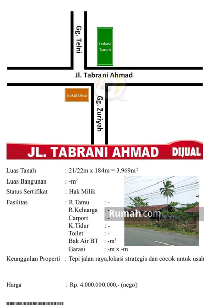 Dijual Tanah Jalan Tabrani Ahmad #99362111