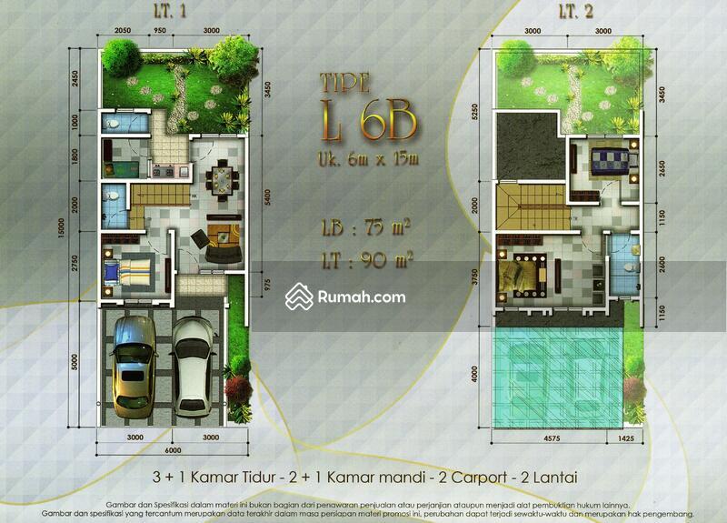 Rumah langka samping penghijauan 2 lantai 6x15 90m Type 3+1 Cluster Thames JGC Jakarta Garden City #104141093
