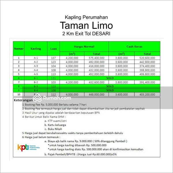 Profit 30%: Dijual Tanah Kapling SHM Meruyung Dekat Gerbang Tol Desari #105225113