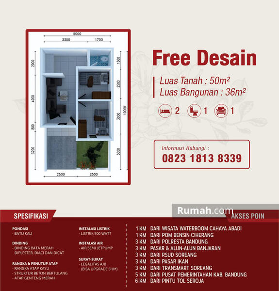 Rumah minimalis di Bandung #106501223