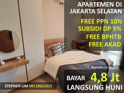 Dijual - Bayar 4, 8 Juta Langsung Dapat Apartemen Di Jakarta Selatan