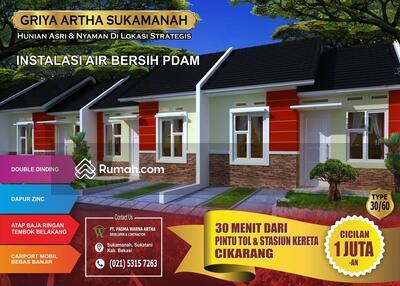 Dijual - Wow Rumah Subsidi Dekat Jakarta Angsuran 1 Jutaan Perbulan Griya Artha Sukamanah