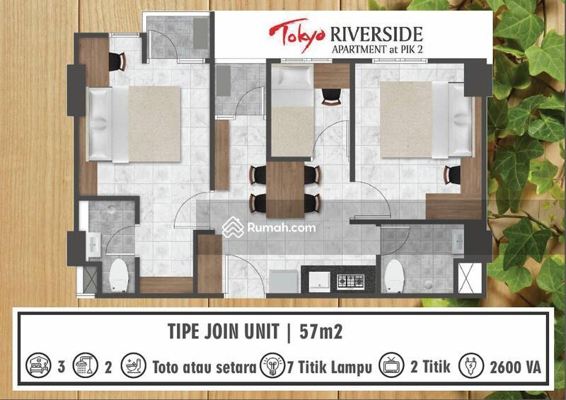 DIJUAL Apartemen Tokyo Riverside PIK2. Type 3BR Unit Join 57m2. JUAL MURAH !! #108801963