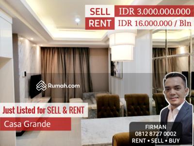 Dijual - Dijual Murah 2 Bedroom 2 BR Full Furnished Luas 67 sqm Apartemen Casa Grande, Casablanca, Tebet, Jak